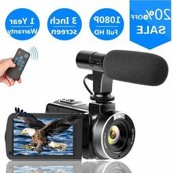 SUNLEA Video Camera Vlogging Camera with MicrophoneFull HD 1