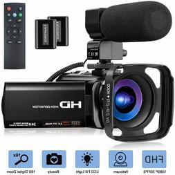 Video Camera with Microphone, FHD 1080P 30FPS 24MP Camcorder