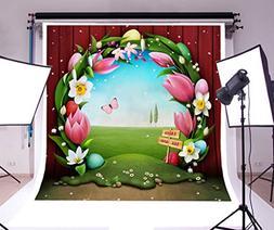 Laeacco 6x6ft Vinyl Backdrop Easter Egg Hunt Photography Bac