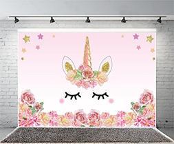 Laeacco 7x5FT Vinyl Backdrop Pink Unicorn Party Photography