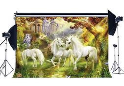 Gladbuy 7X5FT Vinyl Photography Backdrop Unicorn Fairytale C
