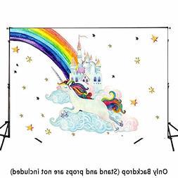 Allenjoy 7x5ft Watercolor Unicorn Backdrops for Children Pic