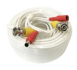 Wennow White Premium Quality 100 Feet Video Power BNC RCA Ca