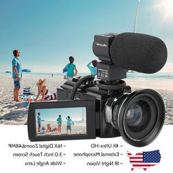 WiFi 4K HD Digital Camcorder Video Camera DV Nightvision+Mic