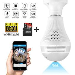 Wifi Light Bulb Camera,1080P Wireless Security Camera Light