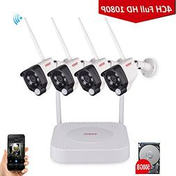 1080P Wireless Security Camera System, Tonton 4CH Full HD 10