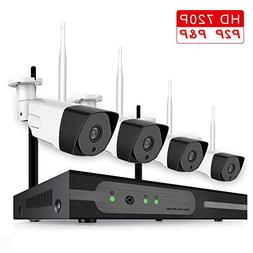 Wireless Security Camera System with Free Cloud 4pcs 720P Wi