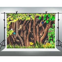 FHZON Wood Backdrop 10x7ft Green Leaves Grass Flower Butterf