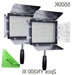 2 Pcs YN300 III, YONGNUO YN300 III YN-300 III LED Camera Vid